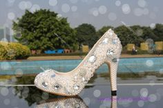 Crystal and Pearl Mary Jane Heels Wedding shoes