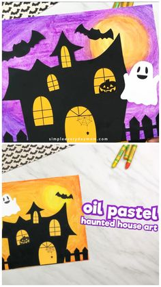 This haunted house art project for kids uses oil pastels and card stock to make a fun craft kids will love. It comes with a free printable template so it's easy to recreate. art elementary Oil Pastel Haunted House Craft For Kids Halloween Kunst, Chat Halloween, Halloween Art Projects, Halloween Arts And Crafts, Halloween Crafts For Toddlers, Fun Crafts For Kids, Craft Kids, Toddler Crafts, Projects For Kids