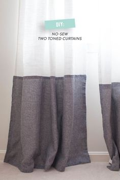 DIY No-Sew Two Tone Curtains Read more - http://www.stylemepretty.com/living/2014/03/18/diy-no-sew-two-tone-curtains/