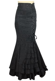 Plus Size Jacquard Black Gothic Fishtail Ruffles Skirt [61050] - $69.95 : Mystic Crypt, the most unique, hard to find items at ghoulishly great prices!
