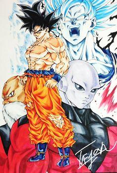 Goku, Jiren, and Toppo