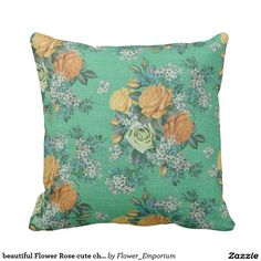 beautiful Flower Rose cute chic  colorful pillow