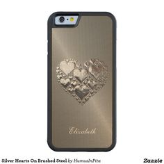 Silver Hearts On Brushed Steel Carved® Maple iPhone 6 Bumper