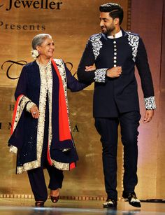 Jaya Bachchan and Abhishek Bachchan walk the ramp at Shabana Azmi's fashion show 'Mijwan'. #Bollywood #Fashion #Style #Beauty #Handsome