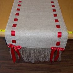 14 x 108 Burlap Runner with Red Ribbon by cherrycheckers on Etsy Mais Burlap Projects, Burlap Crafts, Diy And Crafts, Christmas Projects, Holiday Crafts, Christmas Time, Christmas Runner, Ribbon Colors, Red Ribbon