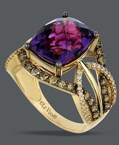 Le Vian 14k Gold Ring, Amethyst (4-5/8 ct. t.w.) and White and Chocolate Diamond (9/10 ct. t.w.) Ring / Macy's