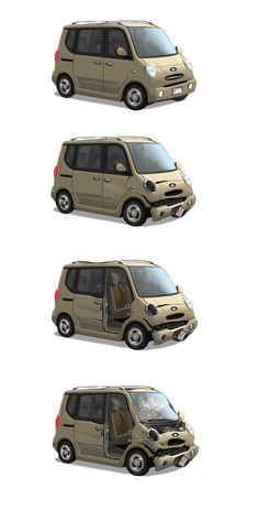 from big hero 6, wasabi's van in various stages of damage