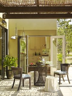 Love the lid on this patio...looks simple and possibly inexpensive.