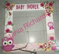 marco para fotos baby shower niña búho