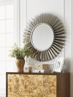 Fontaine Round Mirror Inspired by the Rolls Royce Jet Engine from Lexington Furniture's Mirage Collection