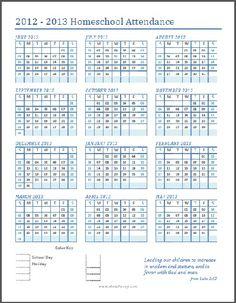 Free, printable (and customizable) homeschool attendance calendar (June 2012 through May 2013)
