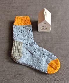 Hand Knit Blue Yellow Grey Wool Socks Women Socks Daisy by MrMIZO