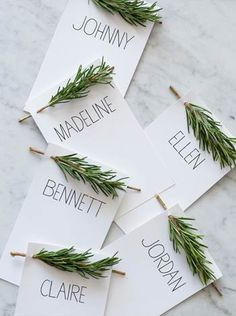 Fresh herbs for fragrant weddings... sprigs of rosemary decorate the name cards... cute idea @TheWeddingSuite