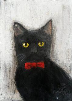 MR BLACK CAT - Peinture,  24x34x2 cm ©2015 par evafialka -                                                                                    Art abstrait, Illustration, Toile, Animaux, Chats, cat, chat noir