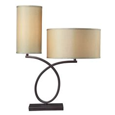 Is that--Laurel and Hardy? At any rate, you're getting two for the price of one in this humorous contemporary design. The lamp has an aged bronze finish with light gold faux silk shades lined with cream fabric.