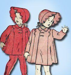 1940s Vintage Butterick Sewing Pattern 4270 WWII Toddler Girls Coat & Bonnet Sz1