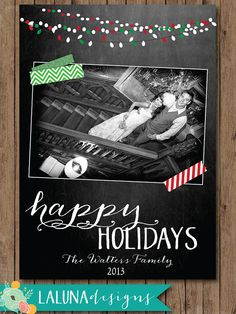 Christmas Card, Chalkboard Photo Christmas Card, Christmas Lights, Holiday Card, DIY Printable Christmas Card