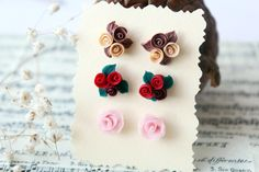 Set of Earrings Red rose studs pale pink rose champagne