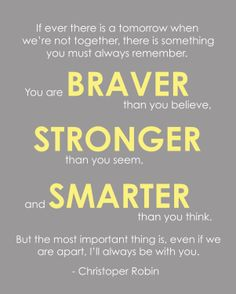 Modern Nursery Print - Christopher Robin, Winnie the Pooh You are Braver Quote