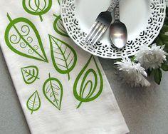 TEA TOWEL Screenprinted Natural Cotton Flour Sack Modern Leaf