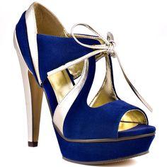Sandalias azul eléctrico con plateado