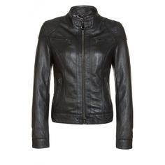 Ladies Biker Black Leather Jacket Cowhide