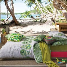Recharge your bedroom with the brightness of Sury Duvet Cover Set by Kas Australia featuring a floral design with shades of green which are accented with embroidery touches Bed Linen Australia, Fluorescent Colors, Buy Candles, Green Quilt, Peaceful Places, Quilt Cover Sets, Decorative Cushions, Bed Styling, Cool Beds