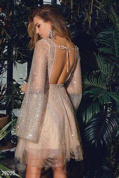 Gepur | Платье-мини с открытой спинкой арт. 29025 Цена от производителя, достоверные описание, отзывы, фото , Цвет: бежево-серебристый