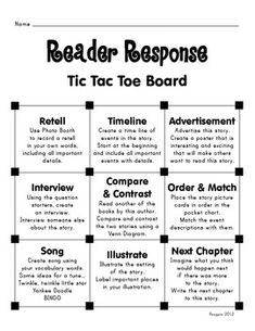 Tic Tac Toe Board (Reader Response) - I& made something like this before, but I like the questions that are on here. Reading Resources, Reading Strategies, Reading Activities, Reading Skills, Teaching Reading, Reading Comprehension, Comprehension Strategies, Guided Reading, Reading Binder