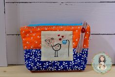 Unique zippered pouch hand embroidered patchwork by MainileMamei