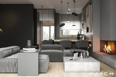 HOUSE IN LODZ,PL on Behance Small Apartment Interior, Small Apartment Design, Home Interior Design, Interior Architecture, Archi Design, Küchen Design, House Design, Living Room Designs, Living Room Decor