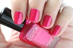 Zoya Paradise Sun Swatches Mae Hot Pink Shimmer Nail Polish #EverydayZoya