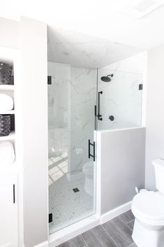 White and Gray Tiled Shower with Custom Shower Door Gray Shower Tile, White Shower, Grey Tiles, Shower Floor, Shower Tub, Bathroom Renos, Bathroom Renovations, Bathroom Inspo, Bathroom Ideas