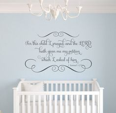 """For This Child I Prayed Scripture Vinyl Wall Decal Bible Verse Personalized Name Wall Quote Boy Girl Baby Nursery 22""""H x 36""""W FS331"""