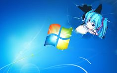 Miku pops out from  Window wallpaper.