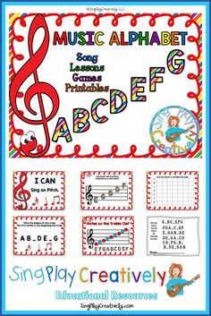 Learn the music alphabet through song and games. https://www.teacherspayteachers.com/Product/Music-Alphabet-Lessons-Games-Song-and-Worksheets-2585289