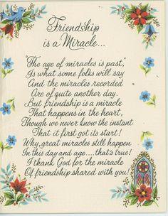VINTAGE FRIENDSHIP IS A MIRACLE BLUEBIRD CHURCH MOTTO SCRIPTURE VERSE CARD PRINT