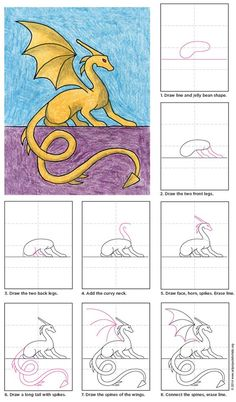 Draw a Sitting Dragon | Art Projects for Kids: