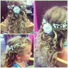 Flower girl hair by www.trishshairdesign.com