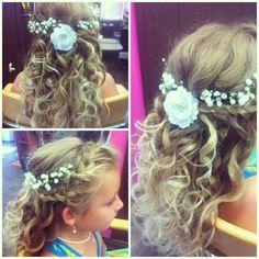 Flower girl hair by www.trishshairdesign.com
