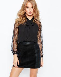Image 1 -Millie Mackintosh Longsleeve Top With Sheer Sleeves in Black