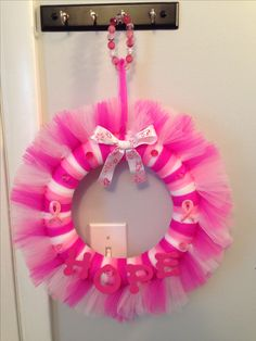 """Homemade Breast Cancer Awareness Wreath - checkout """"Wreaths by Tricia"""" on Facebook for more custom tulle wreaths!"""