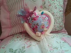 Shabby Chic Unique Heart, Ornamental pincushion With Lace, flowers, feathers £7.95