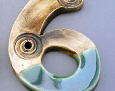 House numbers stoneware ceramic green glaze spirals