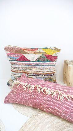 Funda de almohada de lana marroquí - con flecos                                                                                                                                                     Más