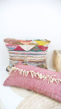 Moroccan Wool Pillow Cover - Fringed