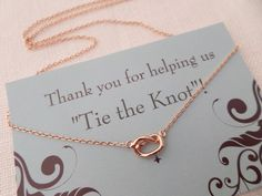 Rose gold, Gold or Silver Love Knot necklace...Tie the knot necklace...dainty, everyday, simple, birthday,  wedding, bridesmaid jewelry by TiffanyAvenueBridal on Etsy https://www.etsy.com/listing/165537277/rose-gold-gold-or-silver-love-knot