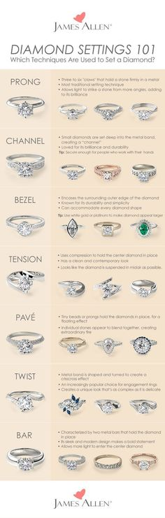 Whether you are looking for an engagement ring, earring, necklace, or bracelet, this is all you wanted to know about how a diamond is set in jewelry. From prong settings, channel-set, pave, bezel, tension, twist and bar-set, find the perfect engagement ring and bridal jewelry using your favorite diamond setting technique. These setting types also apply for gemstones. #EngagementRings