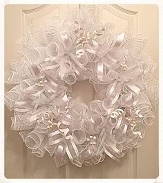 White Celebration Deco Mesh Wreath/Wedding Wreath/Communion Wreath/Celebration Wreath/Blessing Wreath/White Spring Wreath All White Celebration Deco Mesh Kranz / Hochzeit Kranz / Kommunion Kranz / Feier Kranz / Segen Kranz / White Spring Kranz Mesh Ribbon Wreaths, Christmas Mesh Wreaths, Deco Mesh Wreaths, Spring Wreaths, Holiday Ornaments, Christmas Decorations, Christmas Tree, Purple Wreath, White Wreath