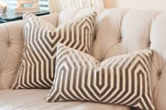 Designer Geometric Pillow - Mary McDonald Gray Pillow Cover - Grey Pillow - Vanderbilt Velvet Throw Pillow - Schumacher - Designer Pillow